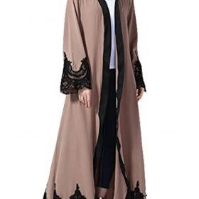 Abetteric Womens Embroidered Dubai Style Cardi Robe Muslim Dresses Abaya