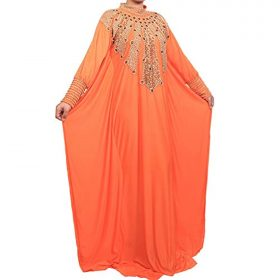 Anastasia - Modest Collection 29 - Hand-Beaded Kaftan, Dress, Abaya (XX-Large, Orange)