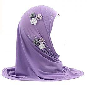 Girls Muslim Hijab Floral Lace Head Scarf Kids Islamic Arab Scarf Shawls Head Wrap with Flowers