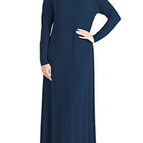 Janisramone New Womens Plain Abaya Islamic Burkha Kaftan Farasha Jilbab Jersey Maxi Dress Navy