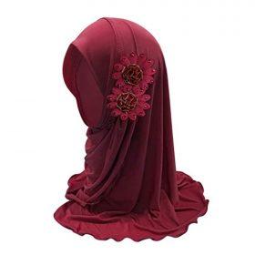 Kids Girls Ice Silk Muslim Khimar Hijab Headscarf Flower Arab Scarf Shawls