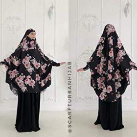 Long black khimar with roses print, Elegant floral jilbab, franch khimar, islamic clothing, muslim cover, burqa long hijab, muslim dress