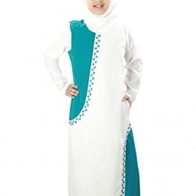 MyBatua Leena Muslim Girls Off White Abaya Dress AY-353-K