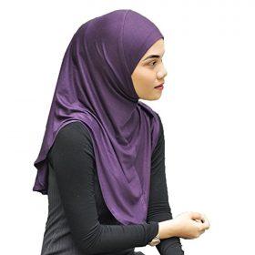 Non-Slip Mu Lan Handmade One piece al amira Hijab Instant Head Scarf Cotton Jersey Long Comfort Hejab Cover (L Size)