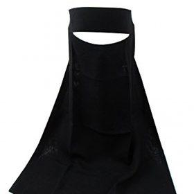 TheHijabStore.com Women's 1-Layer Saudi Black Niqab Face Veil for Hijab Soft 1 Piece Burqa-No Screen