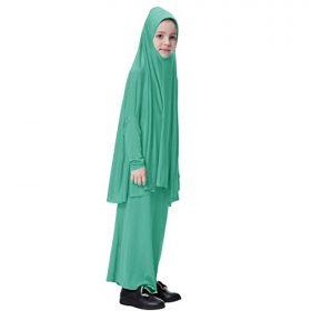 Tongina Muslim Girls Prayer Long Dress + Hijab Islamic Jilbab Loose Comfy Clothes
